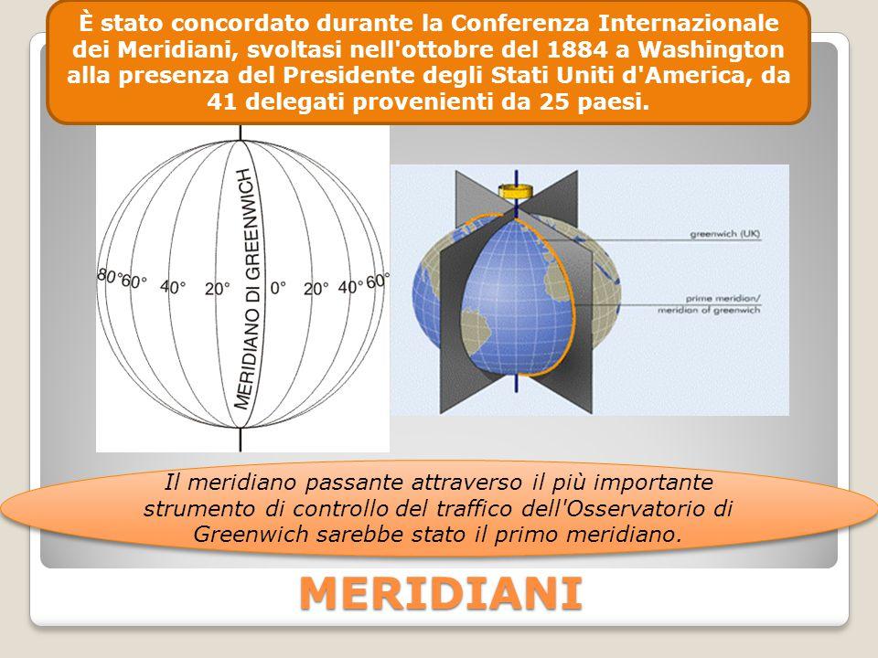 MERIDIANI È stato concordato durante la Conferenza Internazionale dei Meridiani, svoltasi nell'ottobre del 1884 a Washington alla presenza del Preside
