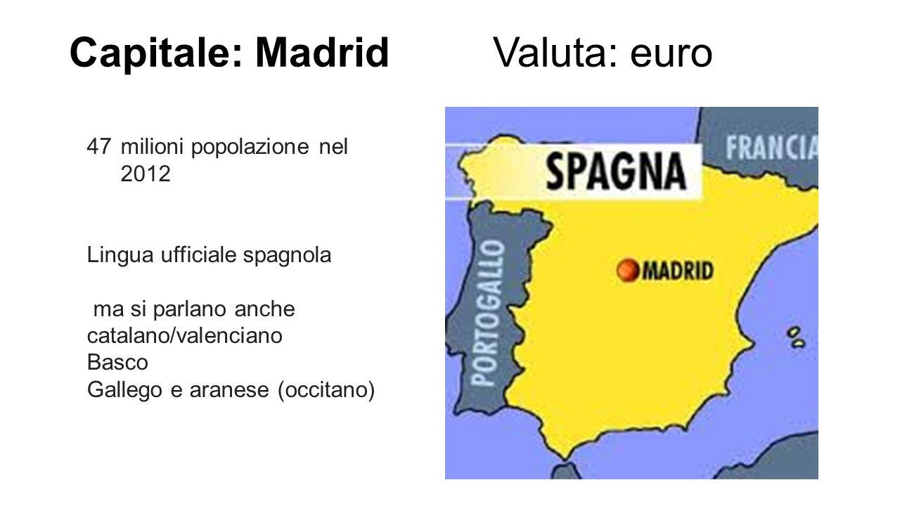 Capitale: Madrid Valuta: euro 47milioni popolazione nel 2012 Lingua ufficiale spagnola ma si parlano anche catalano/valenciano Basco Gallego e aranese
