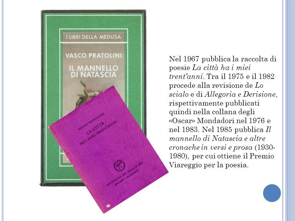 Nel 1967 pubblica la raccolta di poesie La città ha i miei trent'anni. Tra il 1975 e il 1982 procede alla revisione de Lo scialo e di Allegoria e Deri