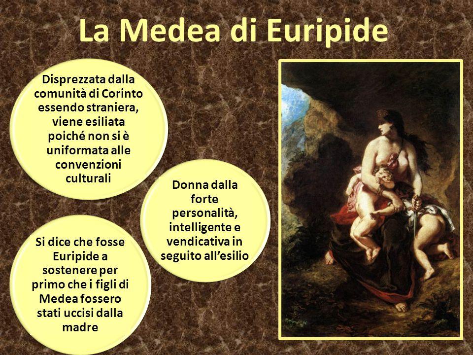 La Medea di Euripide Disprezzata dalla comunità di Corinto essendo straniera, viene esiliata poiché non si è uniformata alle convenzioni culturali Si