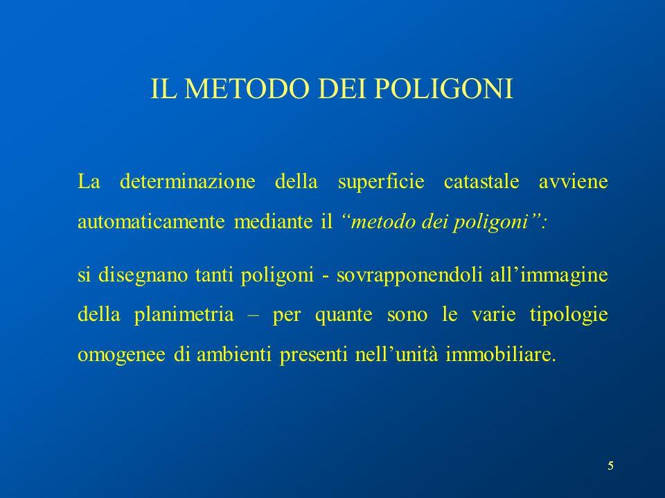 """5 La determinazione della superficie catastale avviene automaticamente mediante il """"metodo dei poligoni"""": si disegnano tanti poligoni - sovrapponendol"""