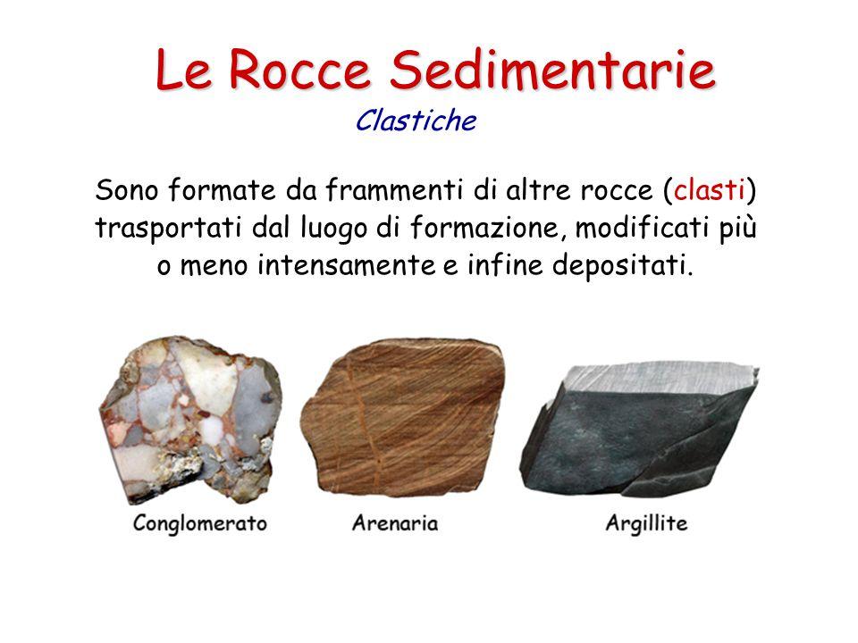 Le Rocce Sedimentarie Sono formate da frammenti di altre rocce (clasti) trasportati dal luogo di formazione, modificati più o meno intensamente e infine depositati.