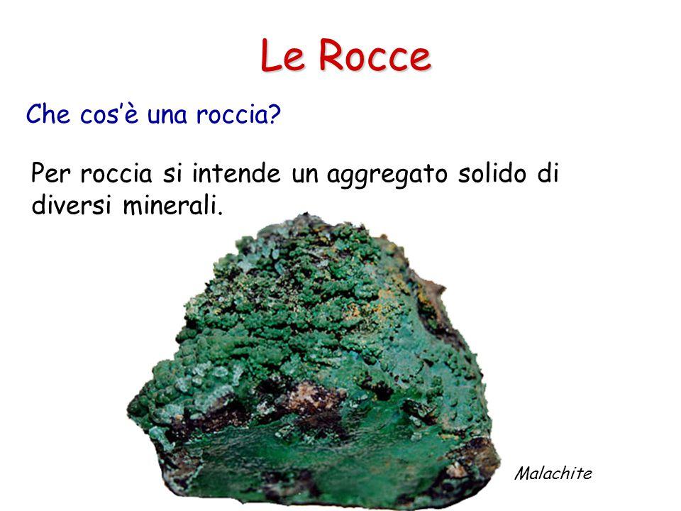Che cos'è una roccia.Le Rocce Per roccia si intende un aggregato solido di diversi minerali.