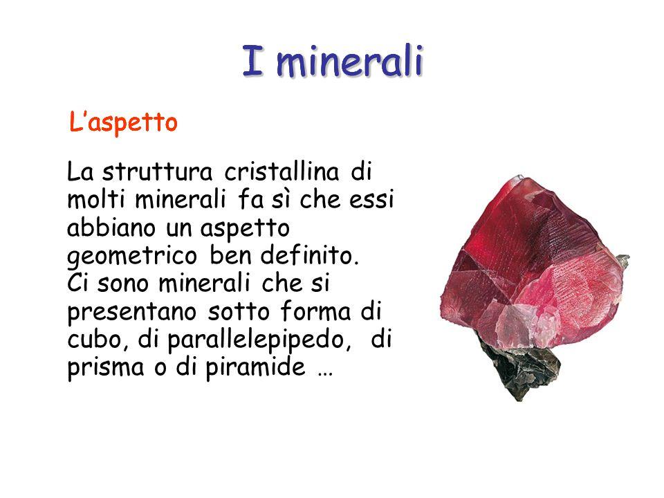 I minerali La struttura cristallina di molti minerali fa sì che essi abbiano un aspetto geometrico ben definito.