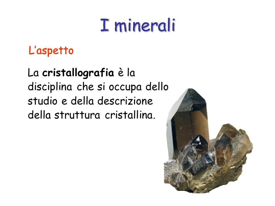 I minerali La cristallografia è la disciplina che si occupa dello studio e della descrizione della struttura cristallina.