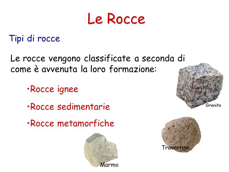 Tipi di rocce Le Rocce Le rocce vengono classificate a seconda di come è avvenuta la loro formazione: Rocce ignee Rocce sedimentarie Rocce metamorfiche