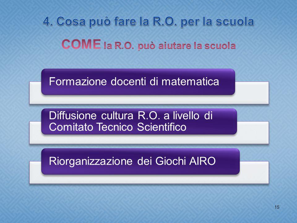 15 Formazione docenti di matematica Diffusione cultura R.O.
