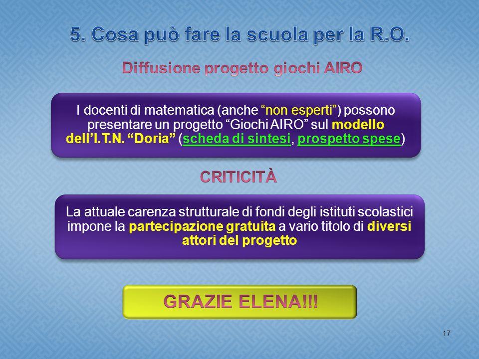 17 I docenti di matematica (anche non esperti ) possono presentare un progetto Giochi AIRO sul modello dell'I.T.N.