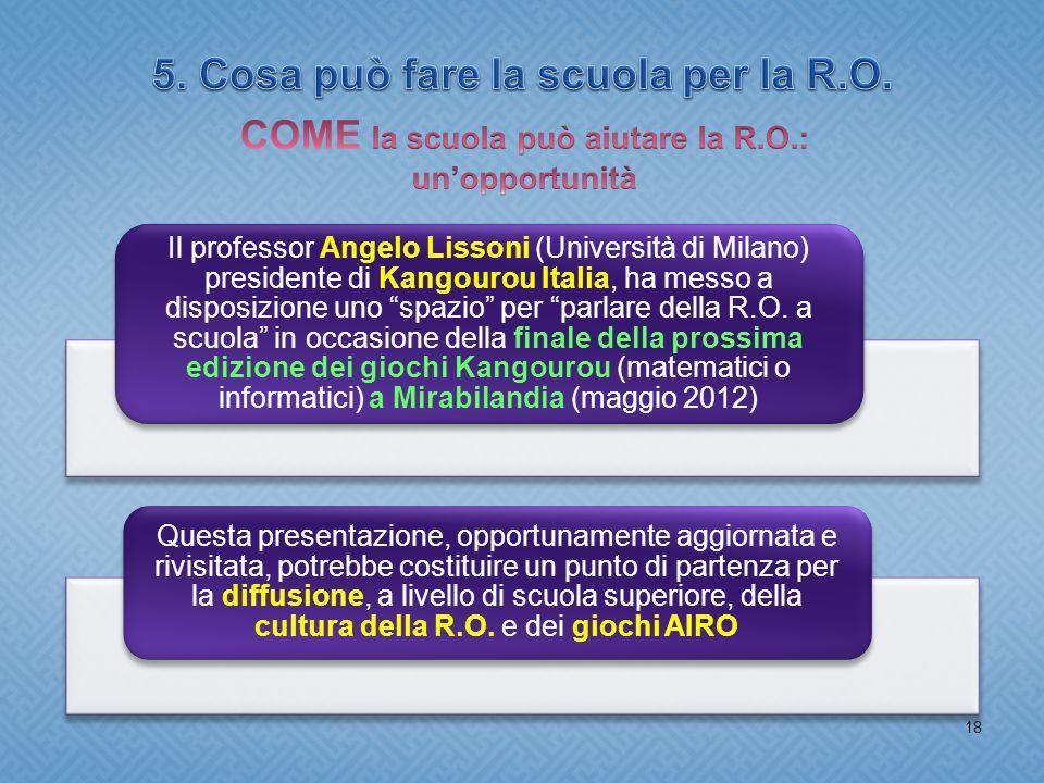 18 Il professor Angelo Lissoni (Università di Milano) presidente di Kangourou Italia, ha messo a disposizione uno spazio per parlare della R.O.