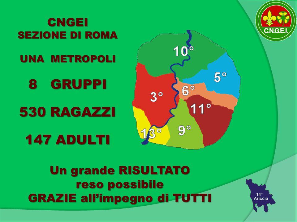 CNGEI SEZIONE DI ROMA UNA METROPOLI 8 GRUPPI 530 RAGAZZI 147 ADULTI Un grande RISULTATO reso possibile GRAZIE all'impegno di TUTTI