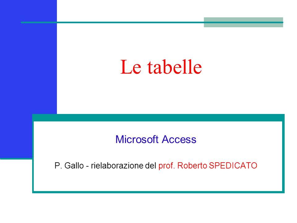 Le tabelle Microsoft Access P. Gallo - rielaborazione del prof. Roberto SPEDICATO