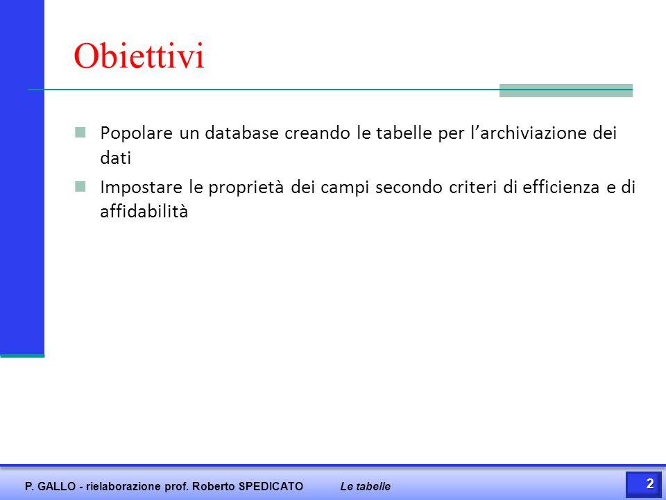 Prerequisiti Generalità su Access Concetto di record e campo 3 P.