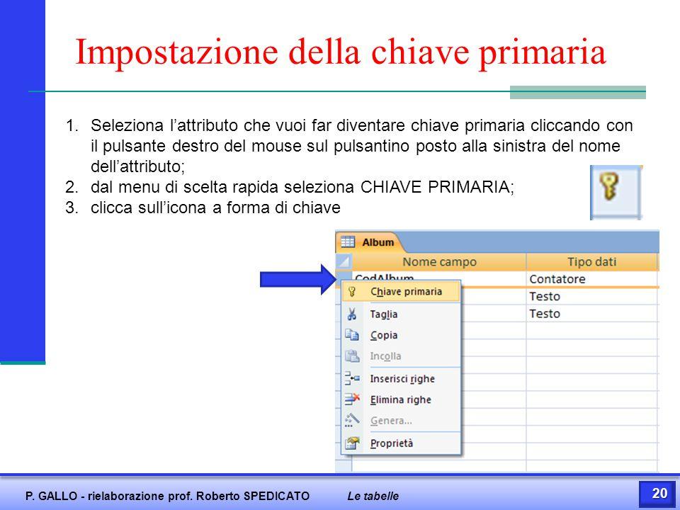 Impostazione della chiave primaria 1.Seleziona l'attributo che vuoi far diventare chiave primaria cliccando con il pulsante destro del mouse sul pulsa