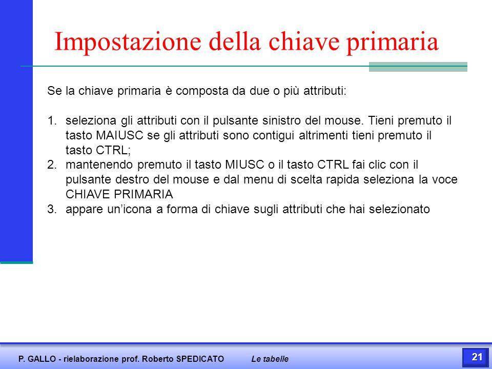 Impostazione della chiave primaria Se la chiave primaria è composta da due o più attributi: 1.seleziona gli attributi con il pulsante sinistro del mou