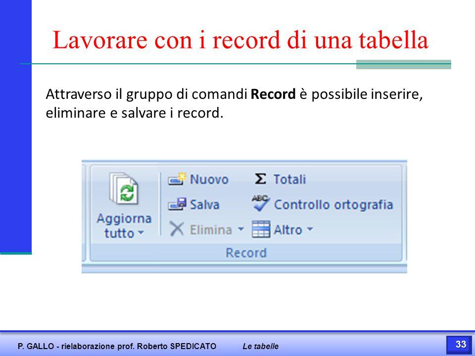 Lavorare con i record di una tabella Attraverso il gruppo di comandi Record è possibile inserire, eliminare e salvare i record. 33 P. GALLO - rielabor