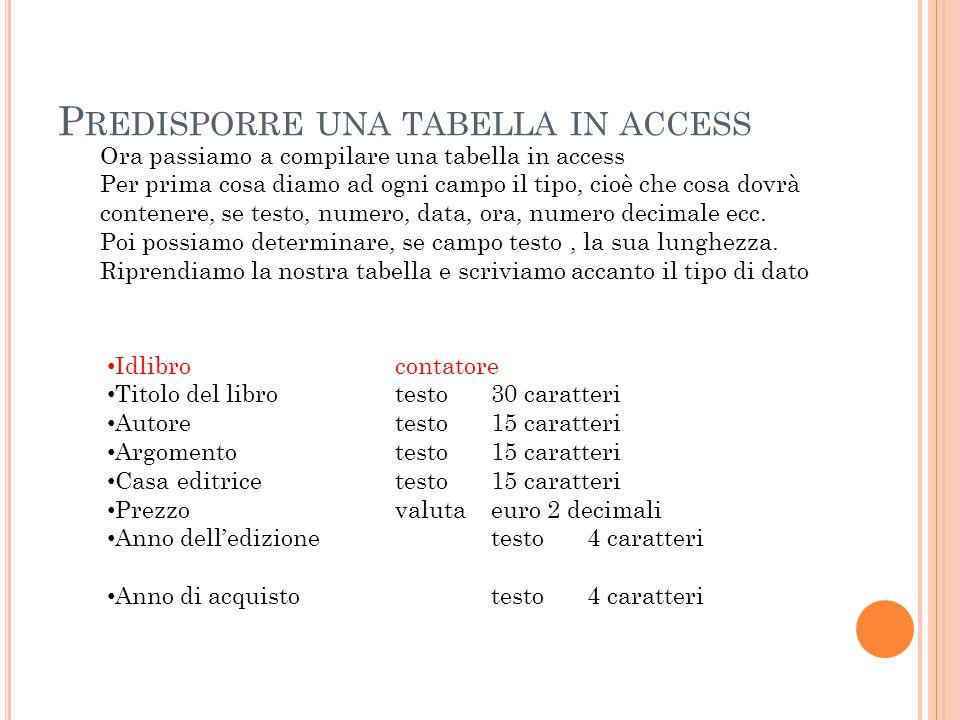 P REDISPORRE UNA TABELLA IN ACCESS Ora passiamo a compilare una tabella in access Per prima cosa diamo ad ogni campo il tipo, cioè che cosa dovrà contenere, se testo, numero, data, ora, numero decimale ecc.