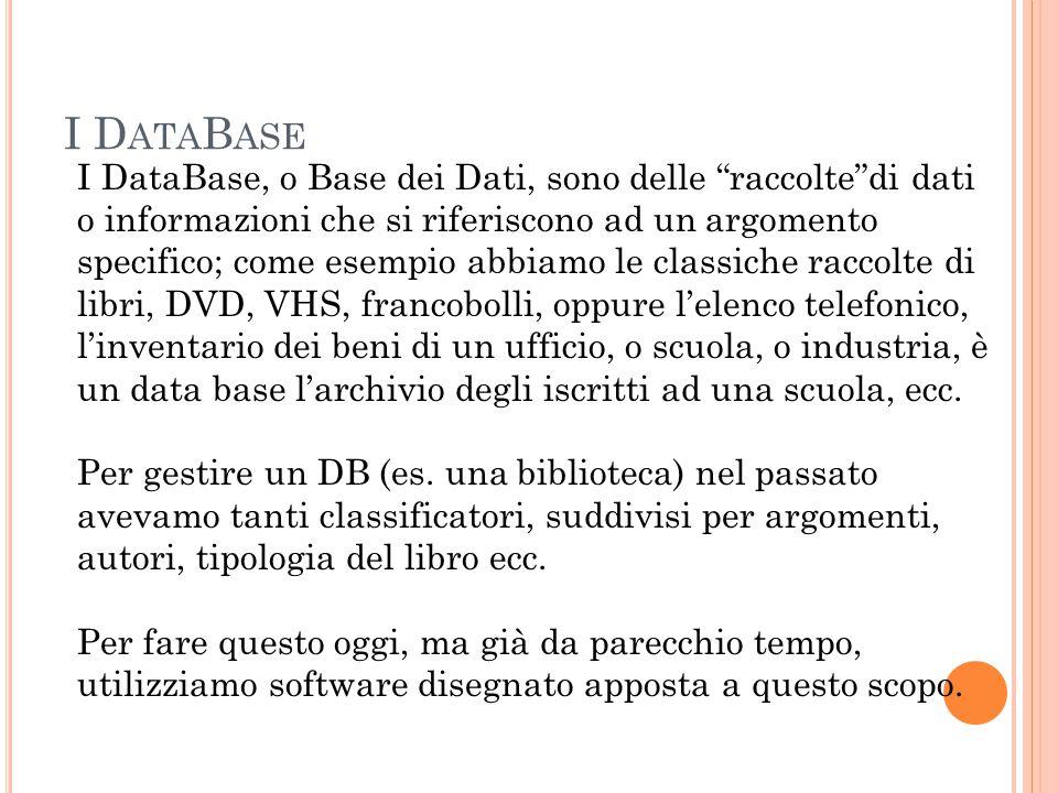 I D ATA B ASE I DataBase, o Base dei Dati, sono delle raccolte di dati o informazioni che si riferiscono ad un argomento specifico; come esempio abbiamo le classiche raccolte di libri, DVD, VHS, francobolli, oppure l'elenco telefonico, l'inventario dei beni di un ufficio, o scuola, o industria, è un data base l'archivio degli iscritti ad una scuola, ecc.