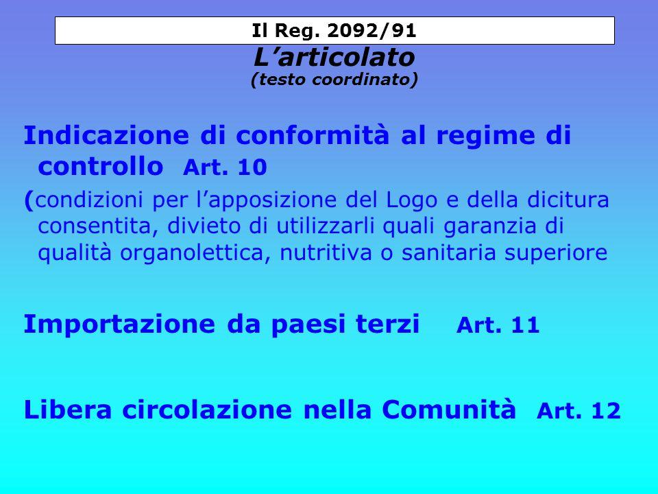 Indicazione di conformità al regime di controllo Art.