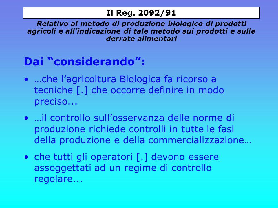 Dai considerando : …che l'agricoltura Biologica fa ricorso a tecniche [.] che occorre definire in modo preciso...