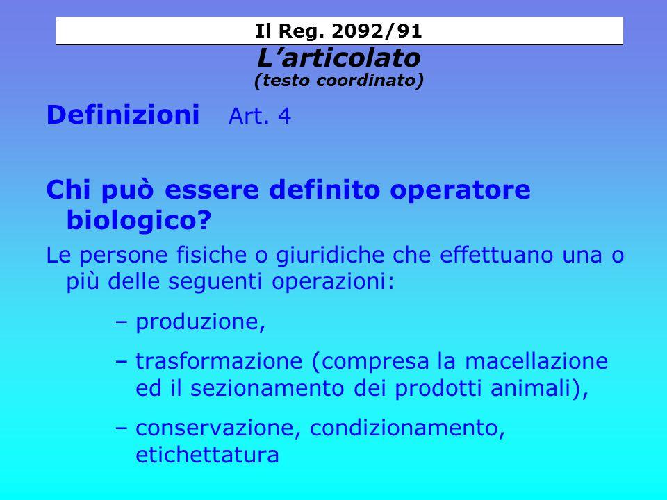 Definizioni Art. 4 Chi può essere definito operatore biologico.
