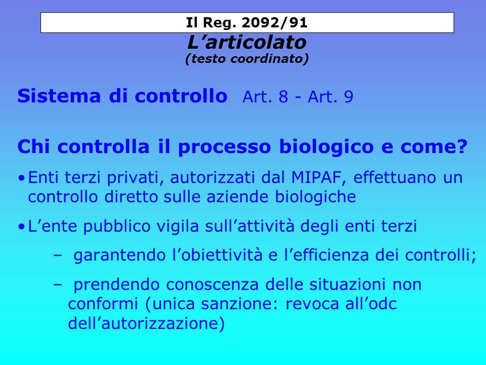 Sistema di controllo Art. 8 - Art. 9 Chi controlla il processo biologico e come.