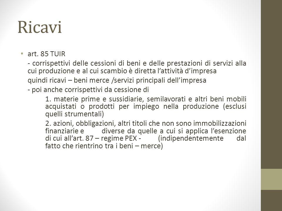 Ricavi art. 85 TUIR - corrispettivi delle cessioni di beni e delle prestazioni di servizi alla cui produzione e al cui scambio è diretta l'attività d'