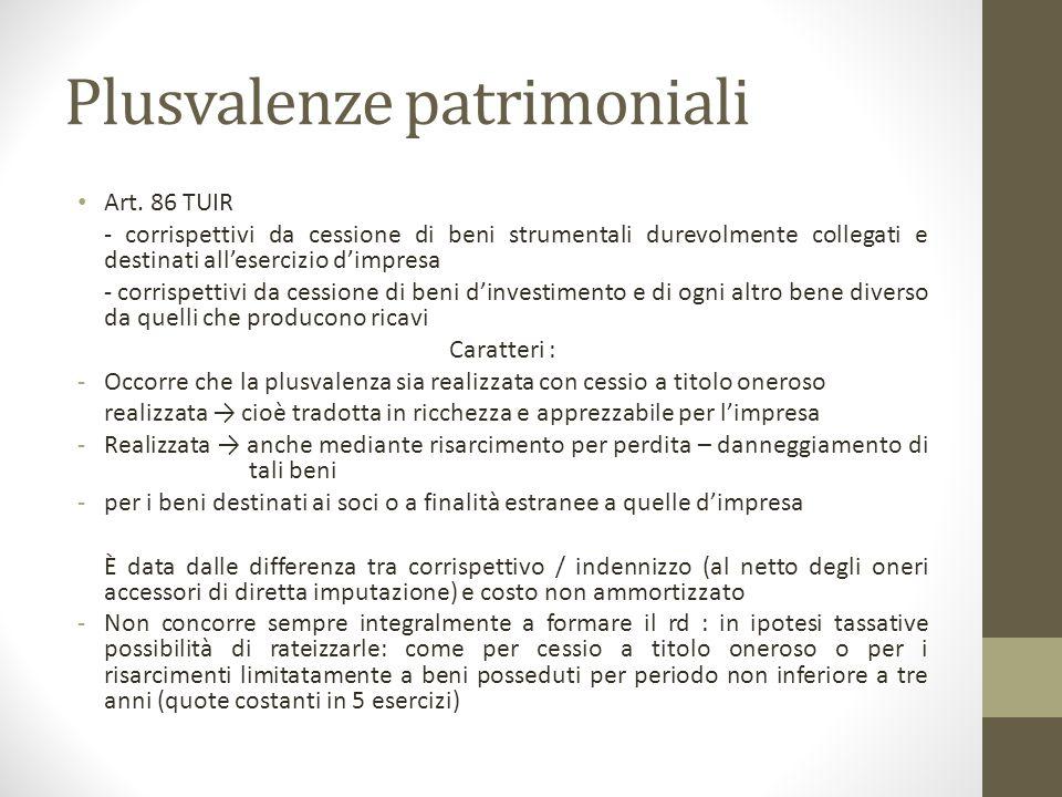 Plusvalenze patrimoniali Art. 86 TUIR - corrispettivi da cessione di beni strumentali durevolmente collegati e destinati all'esercizio d'impresa - cor