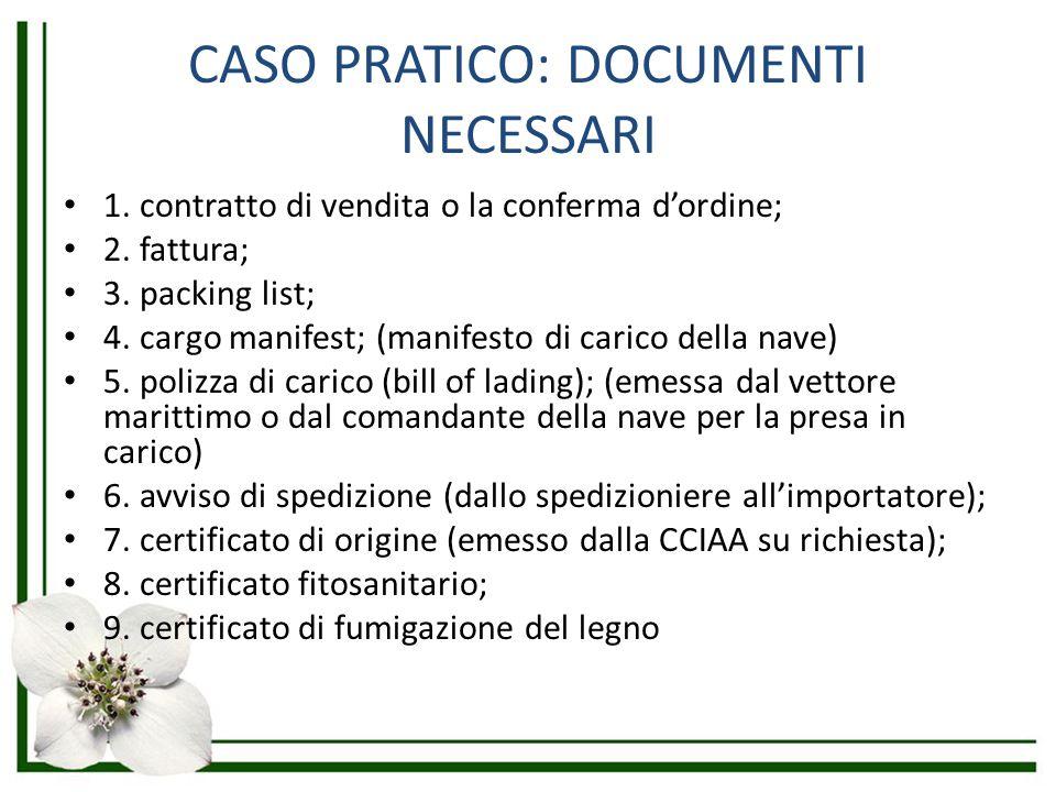 CASO PRATICO: DOCUMENTI NECESSARI 1. contratto di vendita o la conferma d'ordine; 2. fattura; 3. packing list; 4. cargo manifest; (manifesto di carico