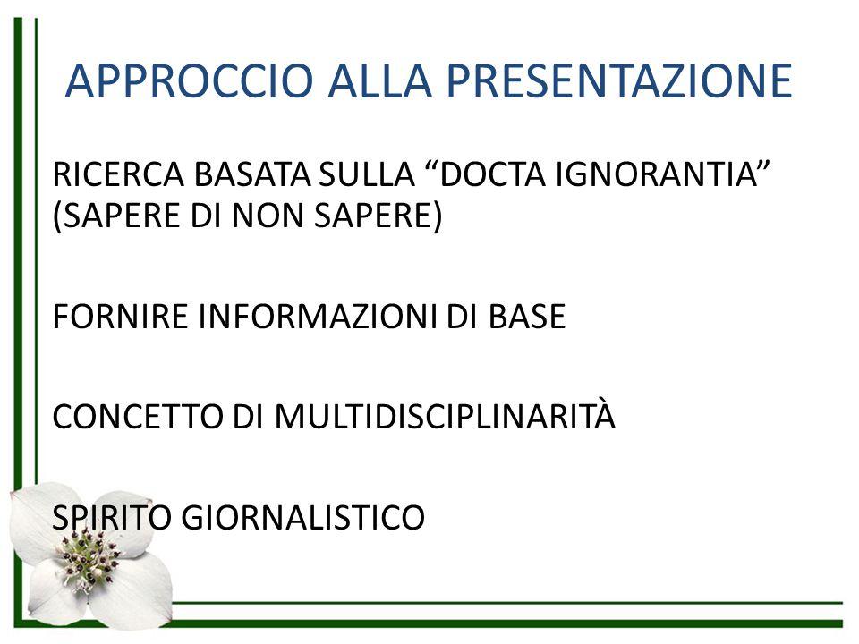 """APPROCCIO ALLA PRESENTAZIONE RICERCA BASATA SULLA """"DOCTA IGNORANTIA"""" (SAPERE DI NON SAPERE) FORNIRE INFORMAZIONI DI BASE CONCETTO DI MULTIDISCIPLINARI"""