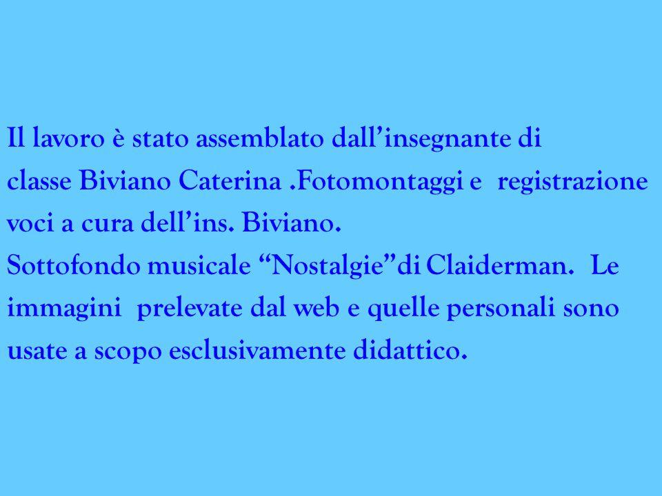 Il lavoro è stato assemblato dall'insegnante di classe Biviano Caterina.Fotomontaggi e registrazione voci a cura dell'ins.