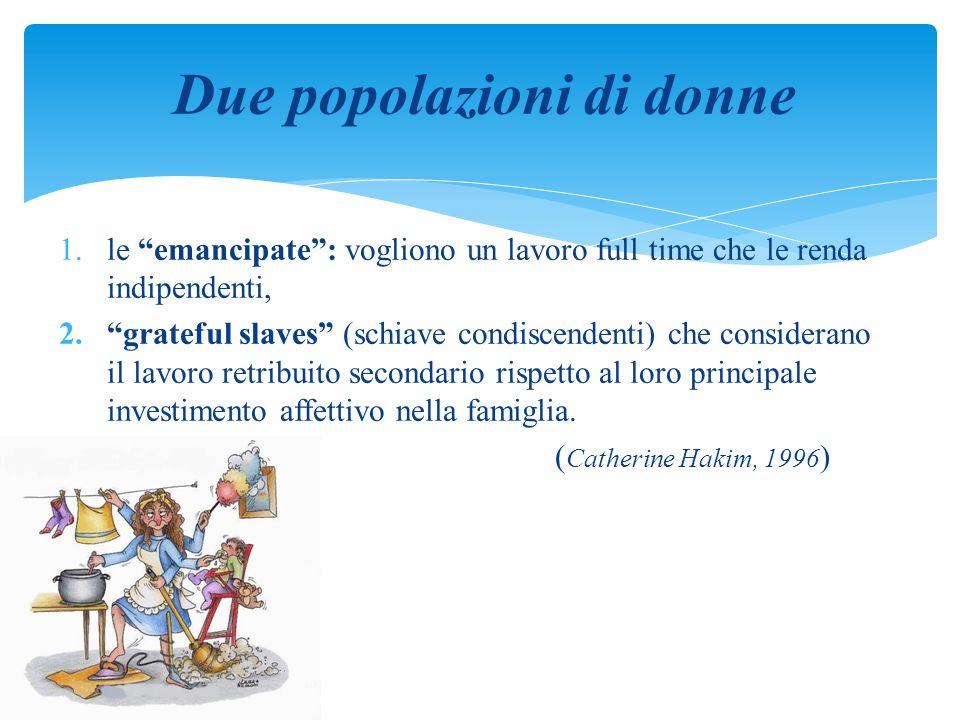 """1.le """"emancipate"""": vogliono un lavoro full time che le renda indipendenti, 2.""""grateful slaves"""" (schiave condiscendenti) che considerano il lavoro retr"""