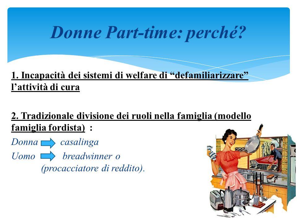 """1. Incapacità dei sistemi di welfare di """"defamiliarizzare"""" l'attività di cura 2. Tradizionale divisione dei ruoli nella famiglia (modello famiglia for"""