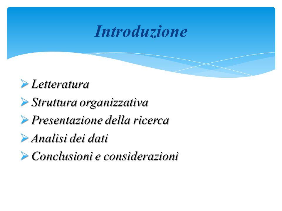  Letteratura  Struttura organizzativa  Presentazione della ricerca  Analisi dei dati  Conclusioni e considerazioni Introduzione