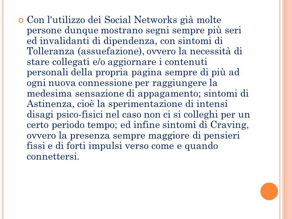 Con l'utilizzo dei Social Networks già molte persone dunque mostrano segni sempre più seri ed invalidanti di dipendenza, con sintomi di Tolleranza (as