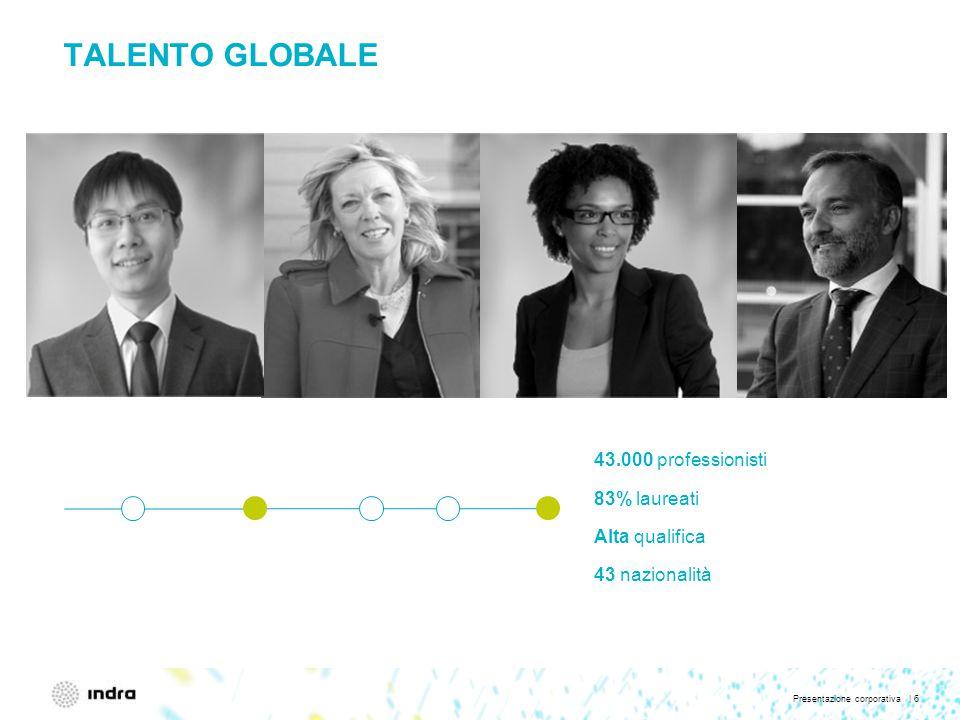 Presentazione corporativa | 6 TALENTO GLOBALE 43.000 professionisti 83% laureati Alta qualifica 43 nazionalità