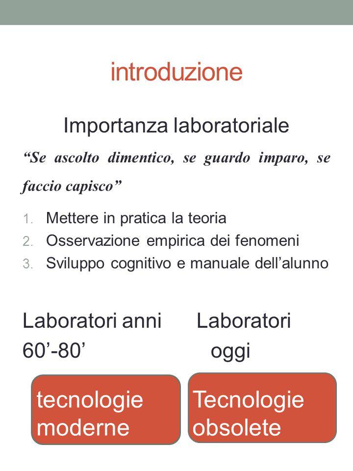 """introduzione Importanza laboratoriale """"Se ascolto dimentico, se guardo imparo, se faccio capisco"""" 1. Mettere in pratica la teoria 2. Osservazione empi"""