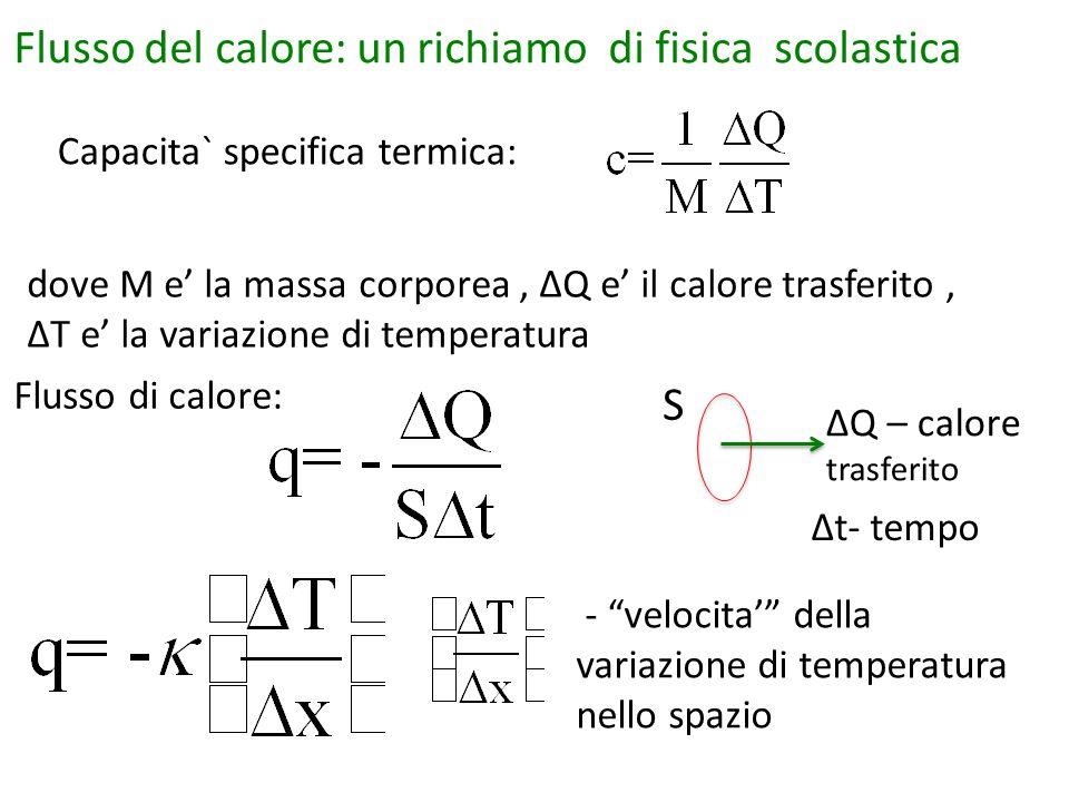 Capacita` specifica termica: Flusso di calore: Flusso del calore: un richiamo di fisica scolastica dove M e' la massa corporea, ΔQ e' il calore trasferito, ΔT e' la variazione di temperatura S ΔQ – calore trasferito Δt- tempo - velocita' della variazione di temperatura nello spazio