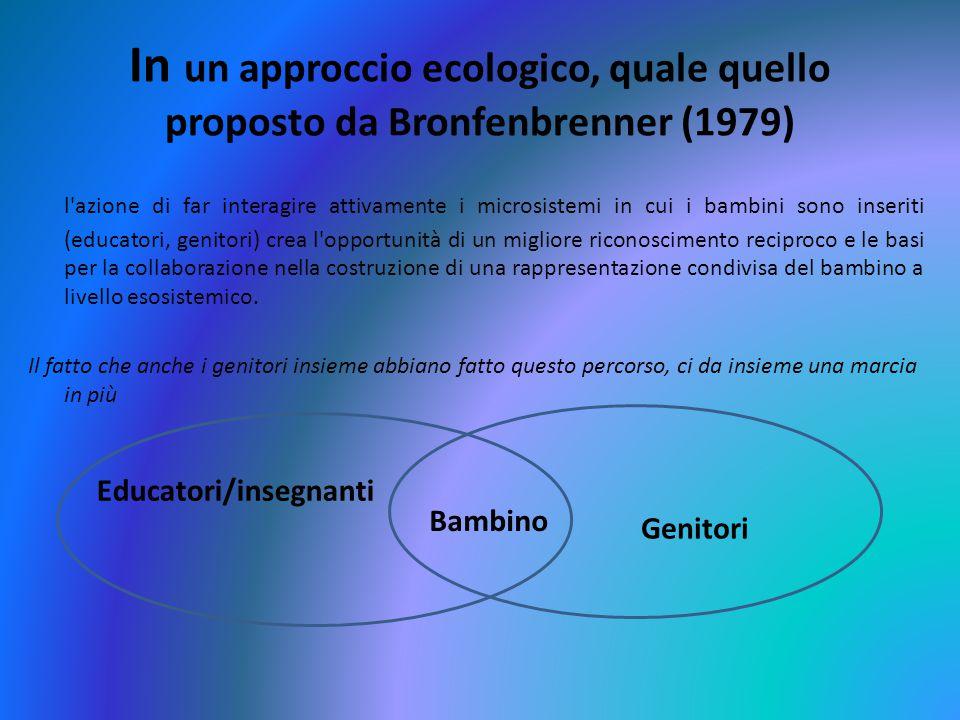 In un approccio ecologico, quale quello proposto da Bronfenbrenner (1979) l'azione di far interagire attivamente i microsistemi in cui i bambini sono