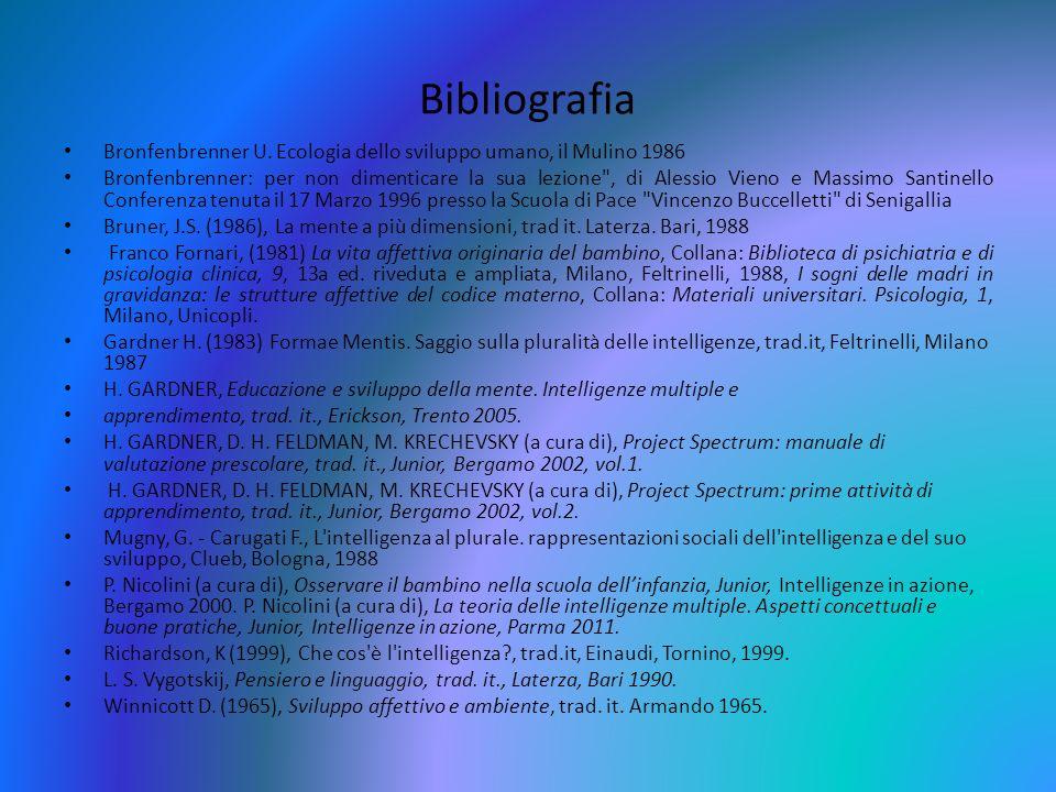 Bibliografia Bronfenbrenner U. Ecologia dello sviluppo umano, il Mulino 1986 Bronfenbrenner: per non dimenticare la sua lezione