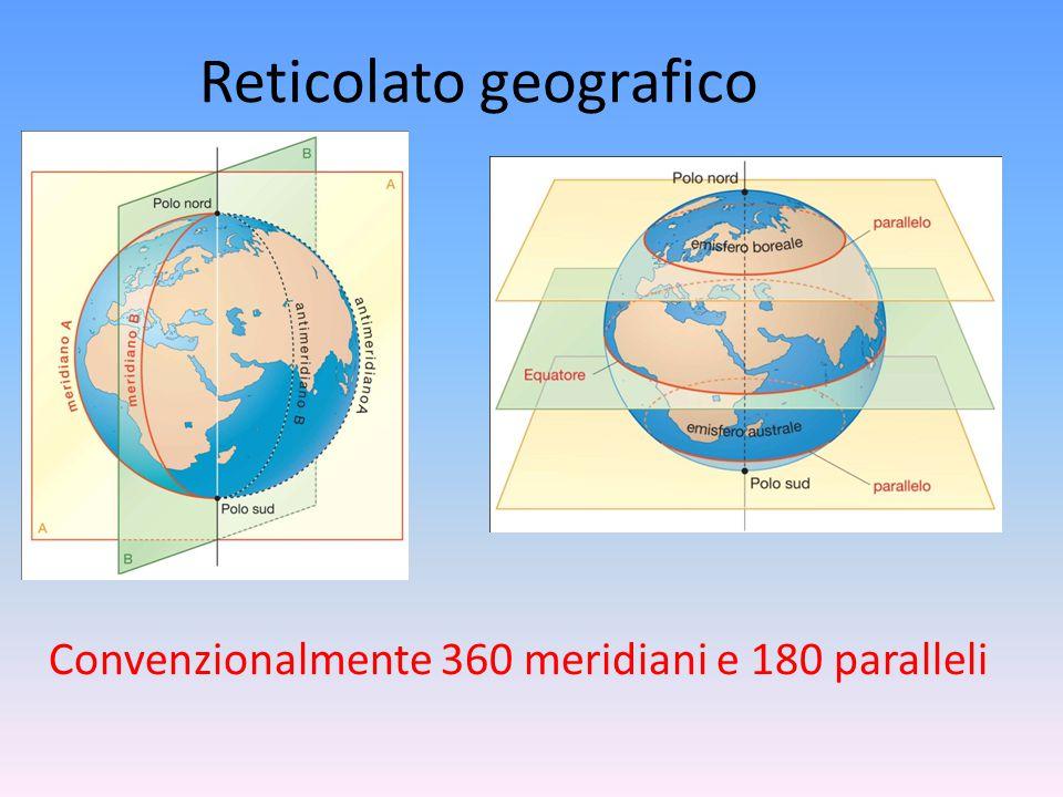Reticolato geografico Convenzionalmente 360 meridiani e 180 paralleli