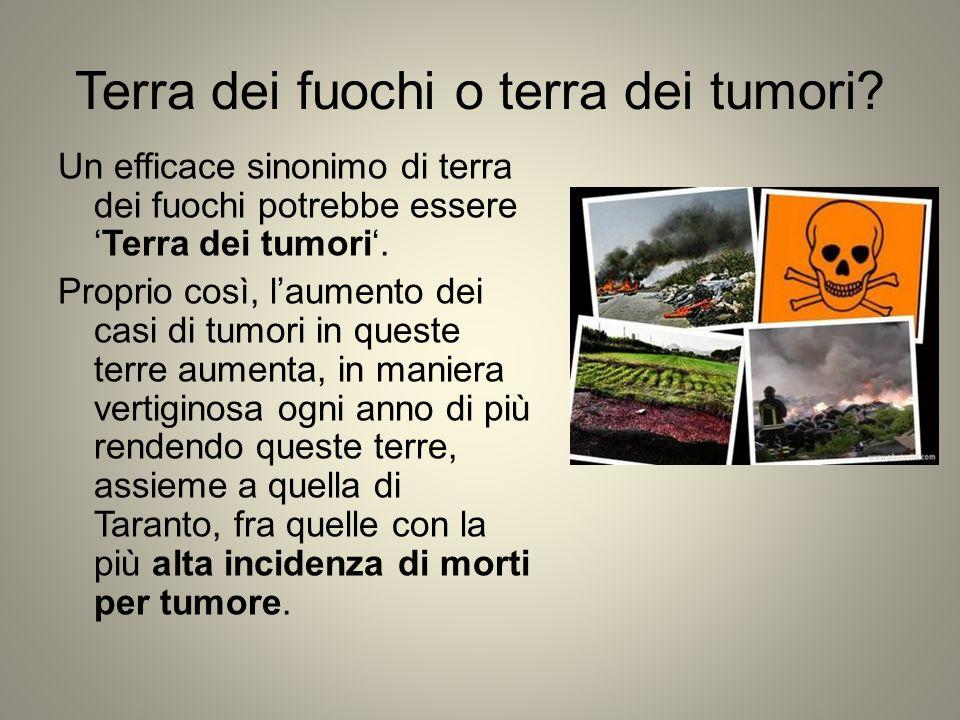 Terra dei fuochi o terra dei tumori? Un efficace sinonimo di terra dei fuochi potrebbe essere 'Terra dei tumori'. Proprio così, l'aumento dei casi di