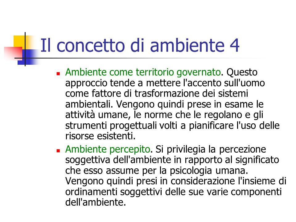 Il concetto di ambiente 4 Ambiente come territorio governato.