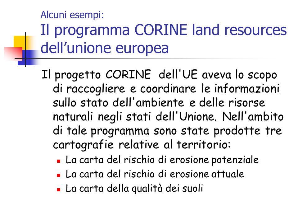 Alcuni esempi: Il programma CORINE land resources dell'unione europea Il progetto CORINE dell UE aveva lo scopo di raccogliere e coordinare le informazioni sullo stato dell ambiente e delle risorse naturali negli stati dell Unione.