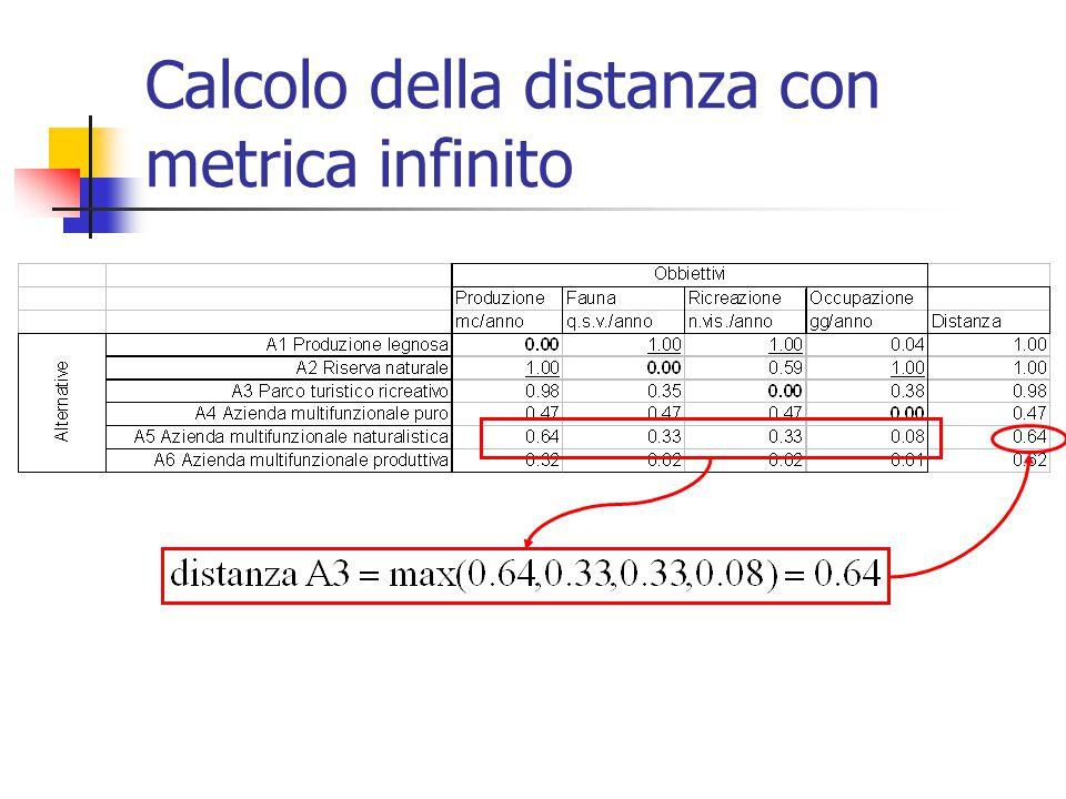 Calcolo della distanza con metrica infinito
