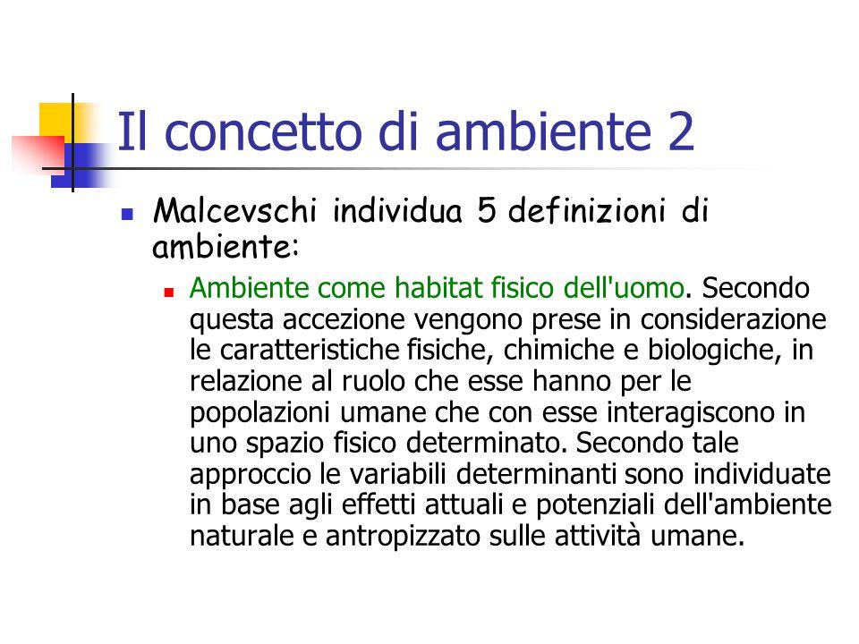 Il concetto di ambiente 2 Malcevschi individua 5 definizioni di ambiente: Ambiente come habitat fisico dell uomo.