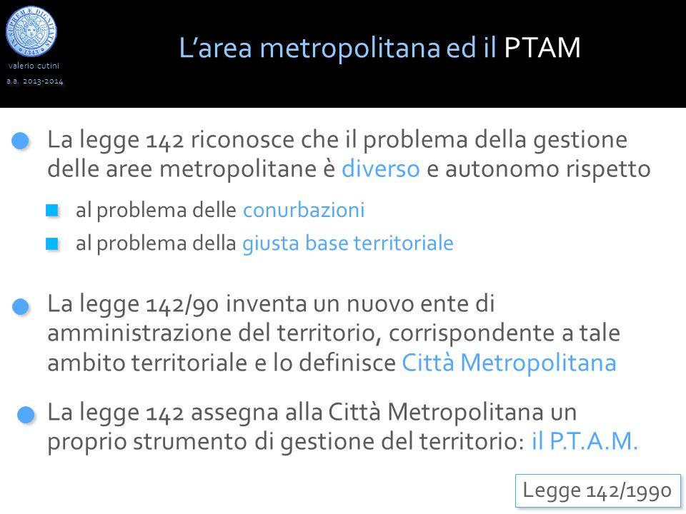valerio cutini L'area metropolitana ed il PTAM a.a. 2013-2014 La legge 142/90 inventa un nuovo ente di amministrazione del territorio, corrispondente