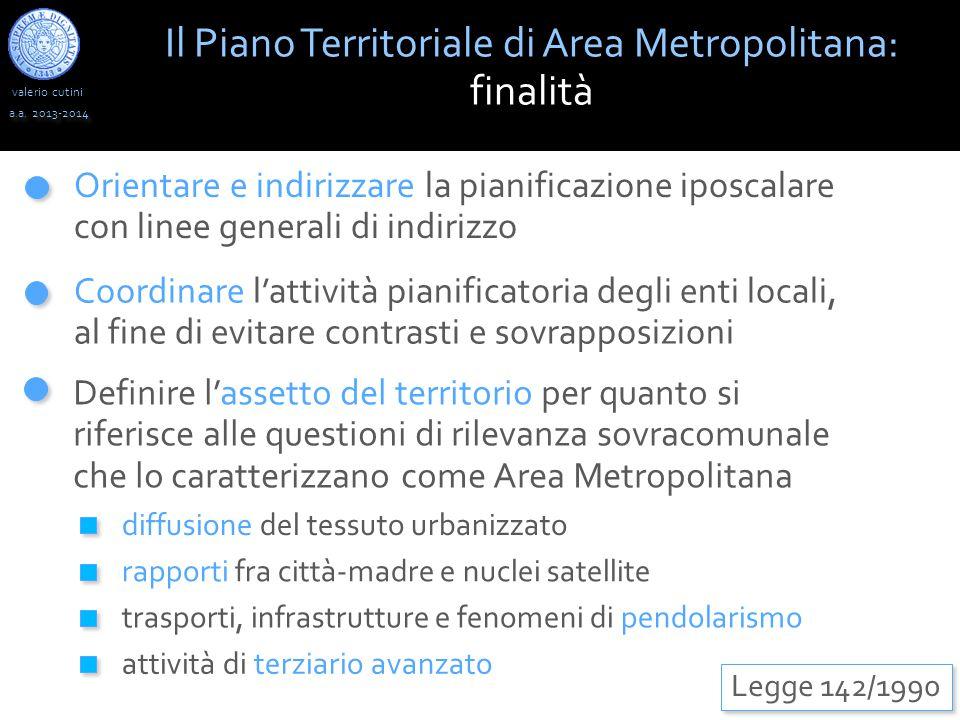 valerio cutini Il Piano Territoriale di Area Metropolitana: finalità a.a. 2013-2014 Legge 142/1990 Orientare e indirizzare la pianificazione iposcalar