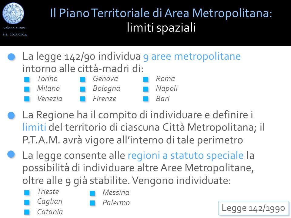 valerio cutini Il Piano Territoriale di Area Metropolitana: limiti spaziali a.a. 2013-2014 Legge 142/1990 La legge 142/90 individua 9 aree metropolita