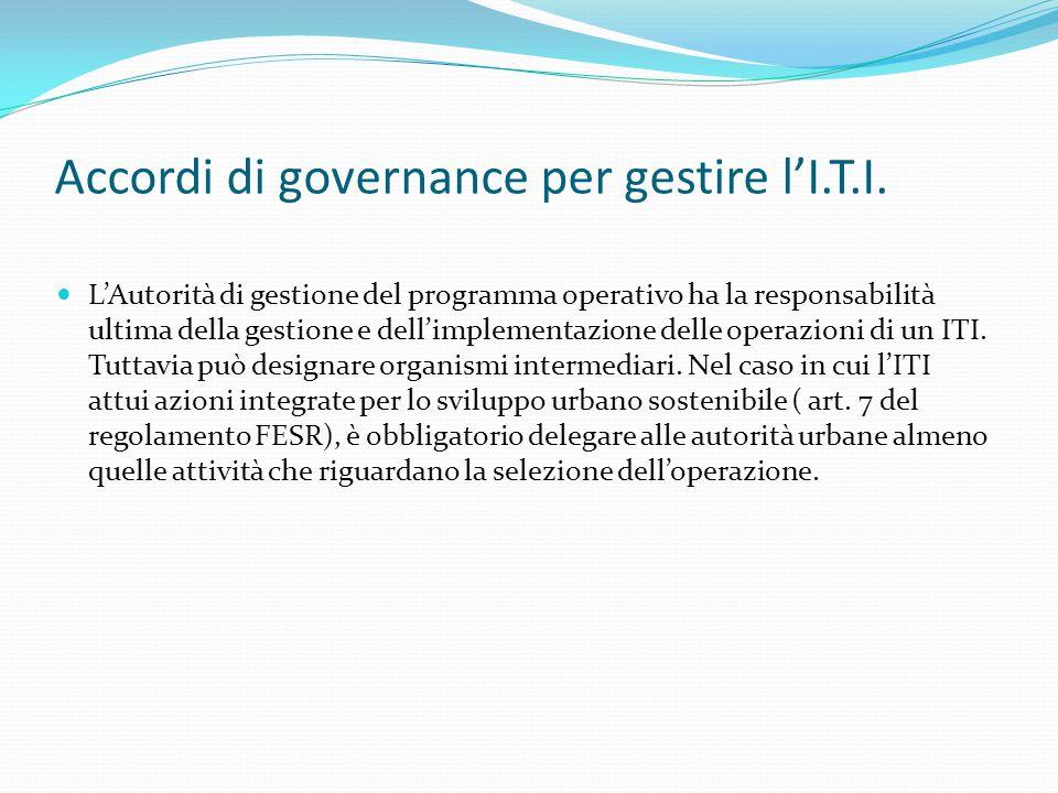 Accordi di governance per gestire l'I.T.I.