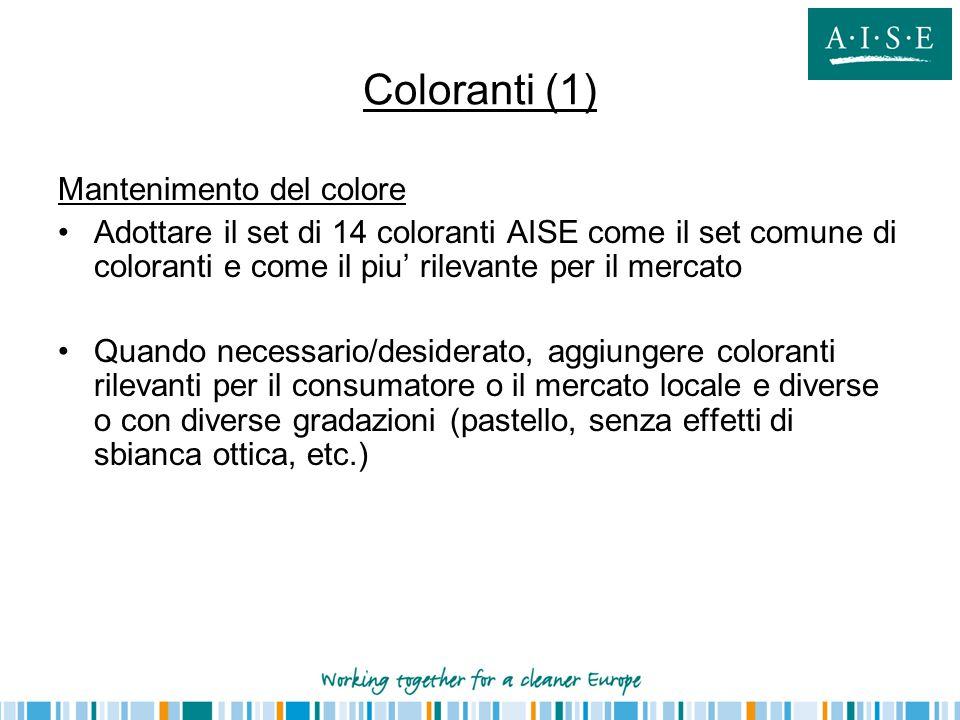 Coloranti (1) Mantenimento del colore Adottare il set di 14 coloranti AISE come il set comune di coloranti e come il piu' rilevante per il mercato Qua